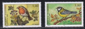 French Andorra # 462-463, Song Birds, NH, 1/2 Cat