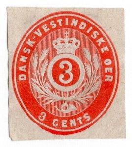 (I.B) Denmark Postal : Danish West Indies Postal Die 3c (cut-out)