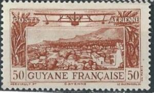 French Guiana C1 (mh) 50c plane over Cayenne, org brn (1933)