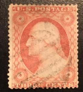 26 Washington 3c, 15.5 perf, T III, dull red, Vic's Stamp Stash