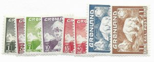 Greenland #1-9 Missing #8 MH - Stamp CAT VALUE $27.00+