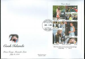 COOK ISLAND 2013 BIRTH OF PRINCE GEORGE SOUVENIR SHEET FIRST DAY COVER