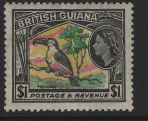 BRITISH GUIANA 265  MINT HINGED  QE2   TOUCAN,  BIRD  ISSUE