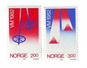 Norway Sc 798-9 1982 Skiing Championships stamps NH