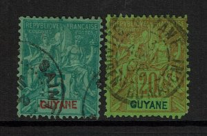 French Guiana SC# 35 and 41, Used, Hinge Remnants, 35 minor creasing - S9873