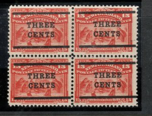 Newfoundland #129 Mint Very Fine Block - Bottom Stamps Never Hinged Top Hinged