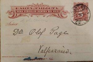 J) 1897 CHILE, COLON 5 CENTS, POSTCARD, POSTAL STATIONARY, FROMO CHILE TO VALPAR