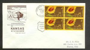UNITED STATES FDC 4¢ Kansas BLOCK 1961 Farnam