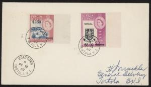 British Virgin Islands 174 & 175 on 1967 cover w/Road Town Tortola V. I. pmk