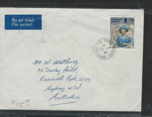 FALKLAND ISLANDS (P2903B)  QEII 27P A/M COVER 1985 TO AUSTRALIA FOX BAY