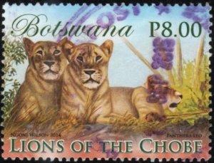 Botswana 956 - Used - 8p Two Lionesses / Cub? (2014) (cv $2.00)