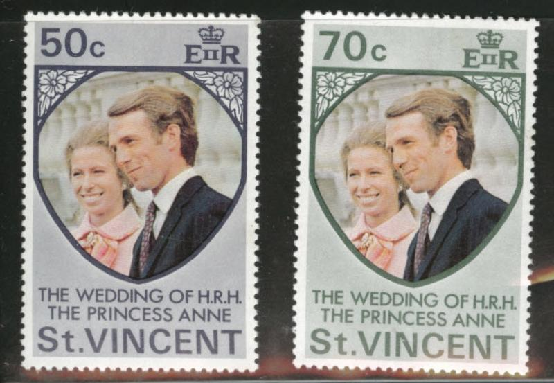 St Vincent Scott 358-359 MNH** 1973 Wedding set