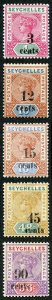 Seychelles SG15/21 1893 Baic set of 5 surcharges (no diffrent dies) M/Mint