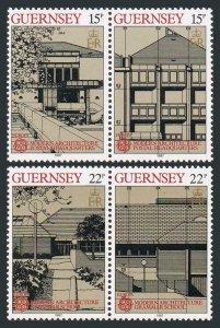Guernsey 348-351a pairs,MNH.Mi 389-392. EUROPE CEPT-1987.Modern Architecture.