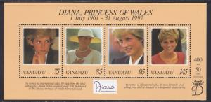 Vanatu # 719, Diana, Princess of Wales, Souvenir Sheet, NH 1/2 Cat.