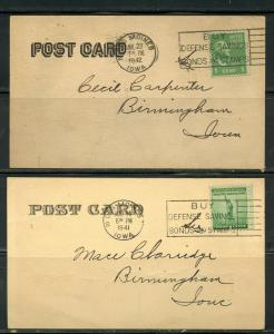 US POSTAL HISTORY OF IOWA LOT OF 17 POSTCARD & PPC MINT/USED 1895-1942 AS SHOWN