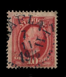 SUÈDE / SWEDEN 1910  HAFLA (Type 14) on Mi43 10 Öre Rouge / Red
