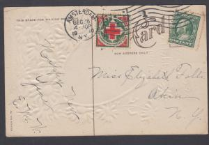 US Sc WX6 Christmas Seal + 1c Franklin on 1910 New Year Card, Amsterdam, NY