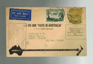 1934 FAith in Australia to New Zealand FFC First Flight Cover VH UXX