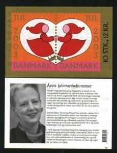 Denmark. Christmas Seal  Booklet 2003  With 10 Seal Mnh. Santa,Birds,Bells.