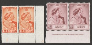 NORTHERN RHODESIA : 1948 KGVI Silver Wedding set plate & imprint pairs. MNH **.