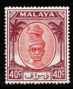 MALAYA PERAK SG144 1950 40c RED & PURPLE MNH