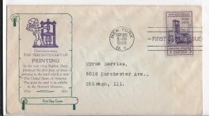 United States, 857-24, 3c Printing TerCent. FDC, Used
