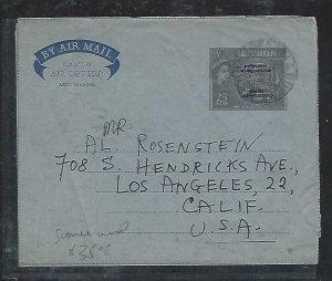 CYPRUS (P2408B) COVER PS AEROGRAM QEII  25 M OVPT 1961 FAMAGUSTA TU USA