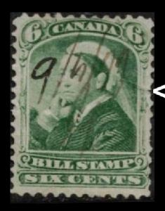 CANADA 1868 QUEEN VICTORIA 6c #FB43 THIRD BILL STAMP ISSUE SML 3mm TEAR SEE SCAN