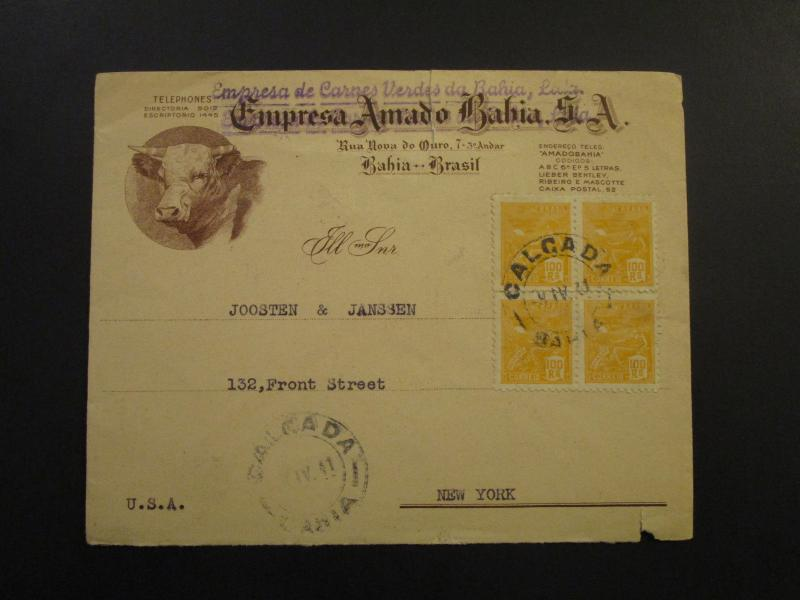 Brazil 1941 Cacheted Commercial Cover to USA / Small Top Tear - Z6029