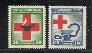 Chile #238-9 comp mnh cv $1.20 Red Cross