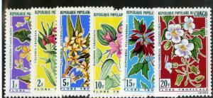 PEOPLE'S REP CONGO 237-242 MH SCV $6.20 BIN $3.00 FLOWERS