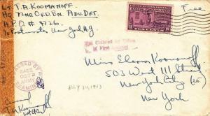 1943, APO 4726, 72nd Ord. Batt. to New York City, NY, See Remark (M3281)