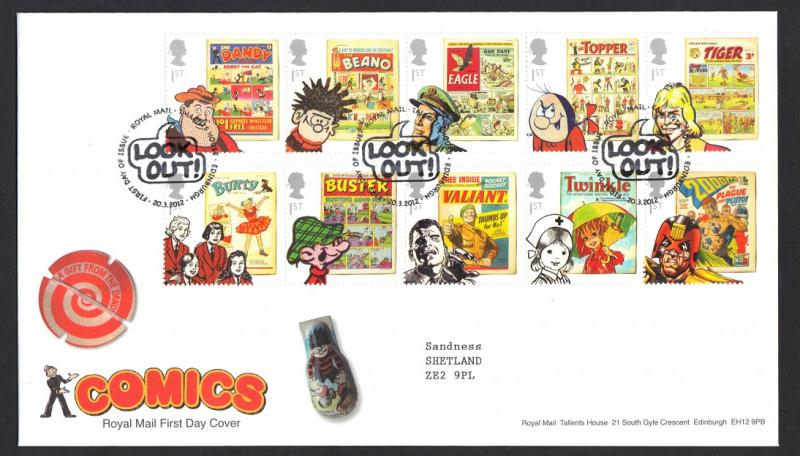 Great Britain 2012 FDC comics  complete  A