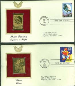 UNITED STATES LOT OF TEN GOLD FOIL REPLICA CACHETS  FIRST DAY COVERS