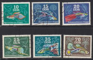 Germany DDR # 1769-1774, Fish - Various Guppies, Used, 1/2 Cat.