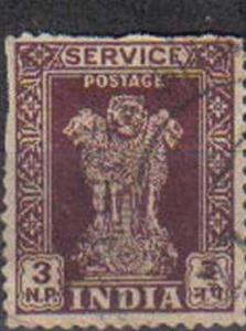 INDIA, 1957, used 3np. Asokan Capital, Value in naye paise