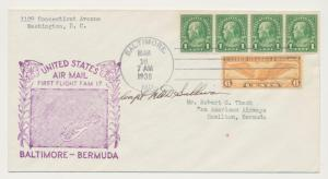 USA - BERMUDA 1938 PILOT SIGNED FIRST FLIGHT COVER (FAM 17) 6c+4x1c(SEE BELOW)