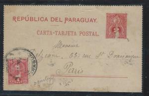 PARAGUAY (P2309B) 1893 2C PSC UPRATED 4C TO PARIS FRANCE