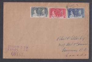 Cyprus Sc 140-142  FDC. 1937 Coronation, cplt set on Selfridge & Co cover