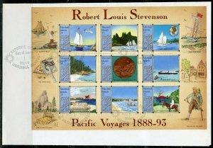 MARSHALL ISLANDS 1988 ROBERT LOUIS STEVENSON SHEET FIRST DAY COVER