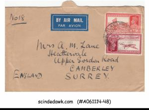 INDIA - 1939 AIR MAIL ENVELOPE TO SURREY ENGLAND WITH KGVI STAMPS