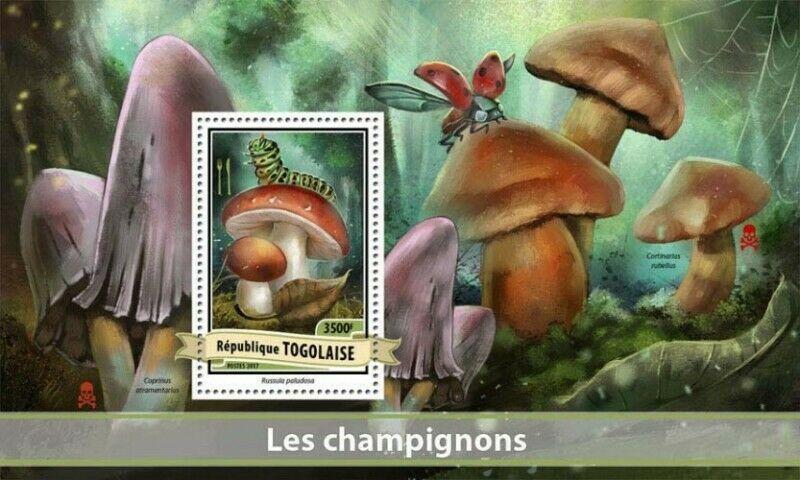 Togo - 2017 Mushrooms on Stamps - Stamp Souvenir Sheet - TG17102b