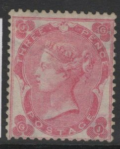 GB SG77 1862-4 3d PALE CARMINE-ROSE MTD MINT