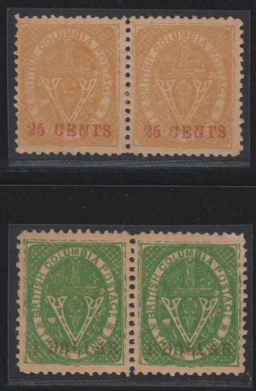 CANADA BRITISH COLUMBIA 1867-69 Sc 11 & 13 PAIRS PERF 12 FORGERIES (CV$5200)
