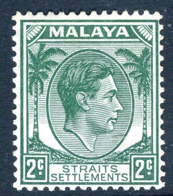 STRAITS SETTLEMENTS-1938 2c Green Die II Sg 293 MOUNTED MINT V18758
