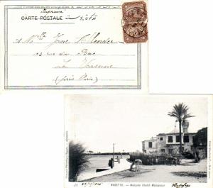 Egypt 1m Sphinx and Pyramid (2) 1905 Alexandrie PPC (Rosette - Mosquee Cheikh...