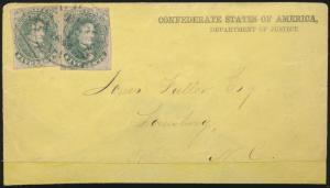 CSA #1 (2) ON COVER CSA DEPT OF JUSTICE YELLOW COVER TO LEWISBURG, NC HV2841 MR
