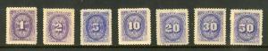 NICARAGUA J22-J28 MH SCV $4.00 BIN $2.00 NUMERICAL DENOMINATIONS