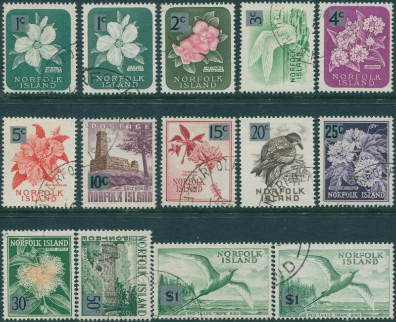 Norfolk Island 1974 SG60-71a Flowers Birds Scenes both sizes set FU